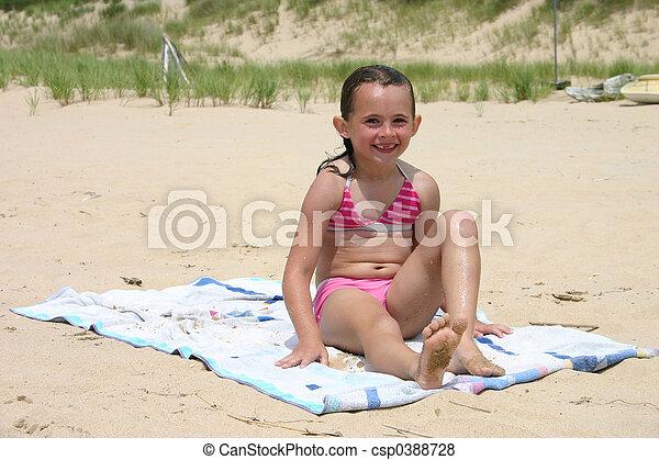 little girl pose beach Little Girl Posing On The Beach Stock Photo - Image of ocean ...