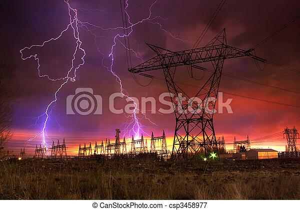 strike., distribution, centrale électrique, éclair - csp3458977