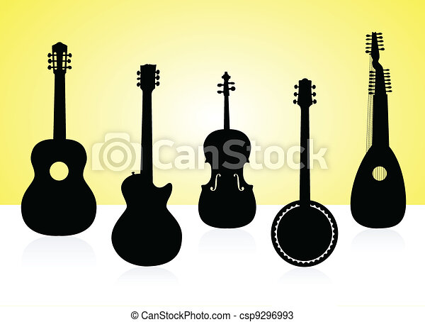 String instruments silhouettes on color background. - csp9296993