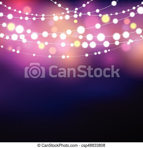 String Lights Background Decorative With Glowing