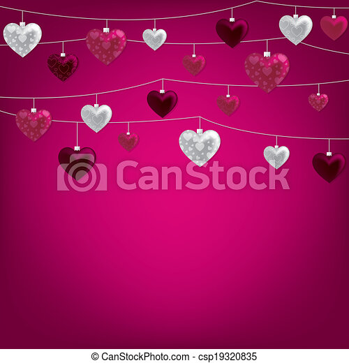 String of Valentine baubles card in vector format. - csp19320835