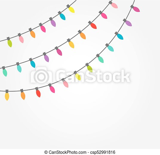 strings of colorful decorative christmas lights csp52991816