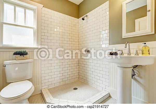 Kleine badkamer met witte ronde mozaïektegeltjes badkamer