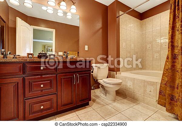Strip, bruine , badkamer, kleur, beige, tegel. Bruine ...