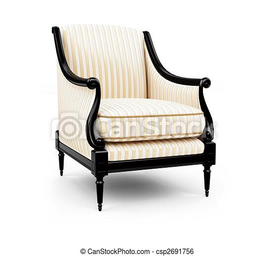 Striped Armchair Against White   Csp2691756