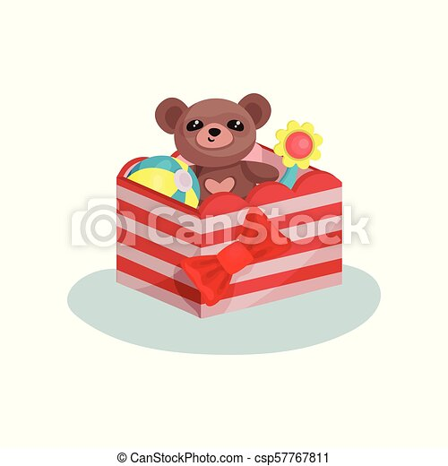 Striped box with red bow full of children toys. Cute teddy bear, inflatable ball and flower. Flat vector icon - csp57767811