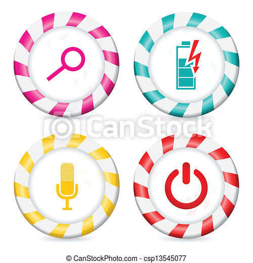 Striped button designs with various icons  - csp13545077
