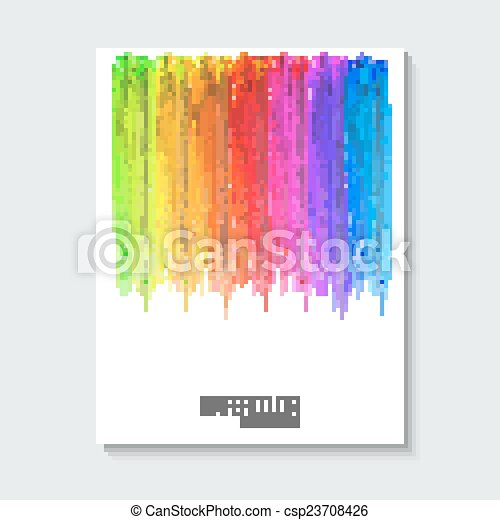 Striped hand drawn watercolor background. Vector version. Bright colors. Watercolor composition for scrapbook elements or print. - csp23708426