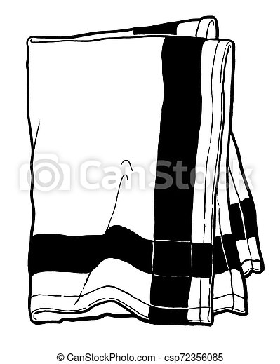 Striped kitchen towel. Black and white hand drawing. Object isolated on white background. Cookbook illustration, recipe, menu, magazine or journal article - csp72356085