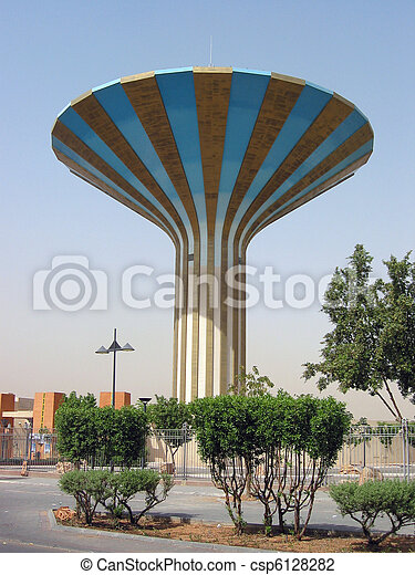 Striped water tower in Er Riyadh, Saudi Arabia   - csp6128282