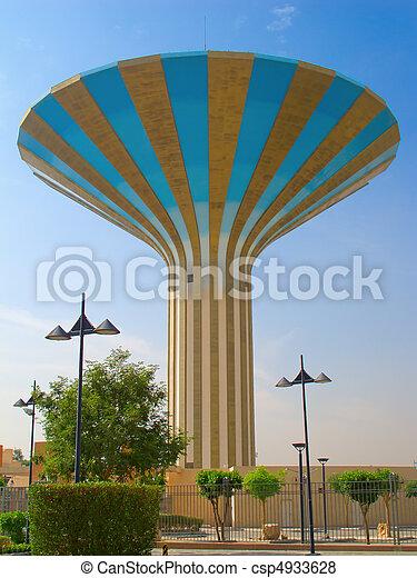 Striped water tower in Riyadh, Saudi Arabia - csp4933628