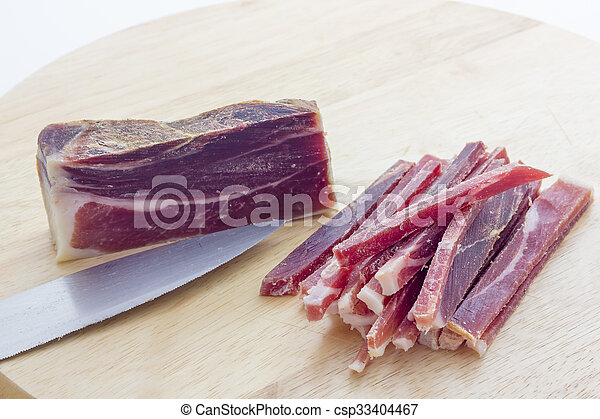 Strips of raw bacon - csp33404467