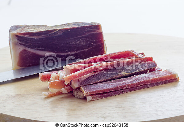 Strips of raw bacon - csp32043158