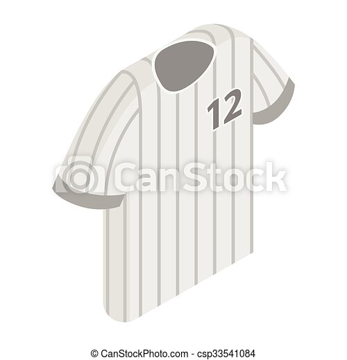 Stripy baseball t-shirt with number icon - csp33541084