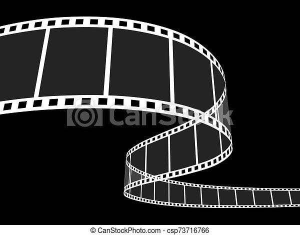 striscia, film, nero, 3d - csp73716766