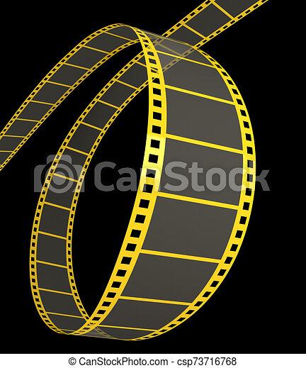 striscia, film, nero, 3d - csp73716768