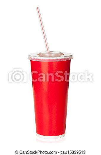 stroh, trinken, verfügbar, rote tasse - csp15339513