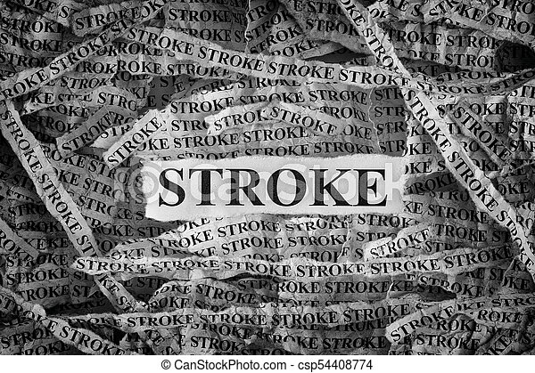 Stroke. Torn pieces of paper with the word Stroke - csp54408774