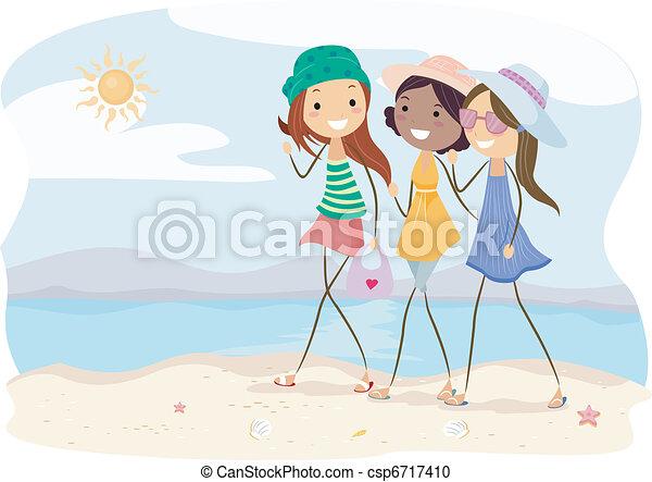 Stroll. Illustration of girls walking on the beach.