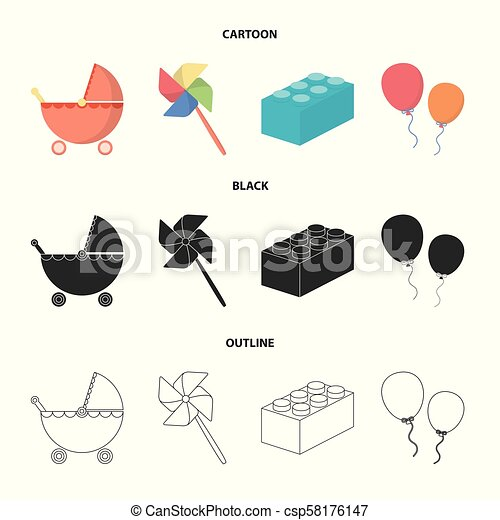 Stroller Windmill Lego Balloonsys Set Collection Icons In
