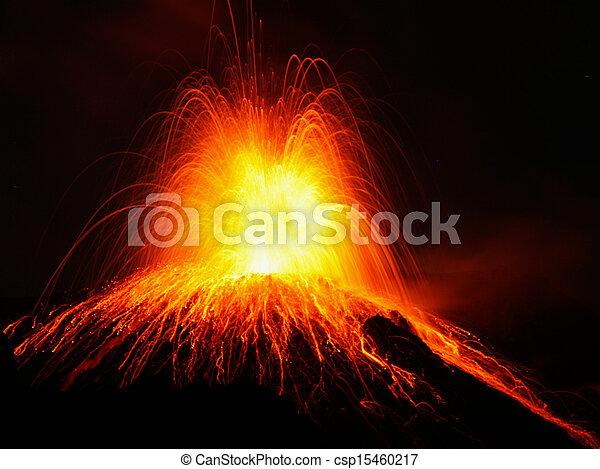 Strombolian eruption volcano Stromboli erupting - csp15460217