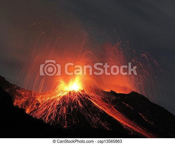 Strombolian volcano eruption - csp13565863