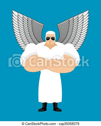 Strong Angel. Powerful Seraphim. the Messenger of God. Guardian Angel is very strong. Human protectors. White Angel wings. Athlete fitness bodybuilder. Crossed arms.  - csp35058379