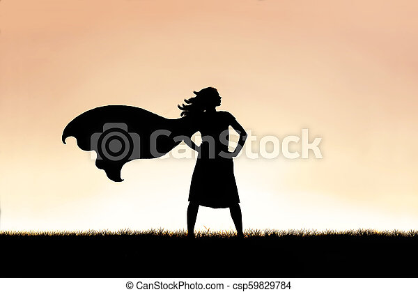 Strong Beautiful Caped Super Hero Woman Silhouette Isolated Against Sunset Sky Background - csp59829784