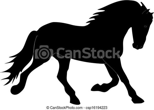 Strong Black Horse Silhouette Black Horse Silhouette Running To The Right With A Light Grey Outline