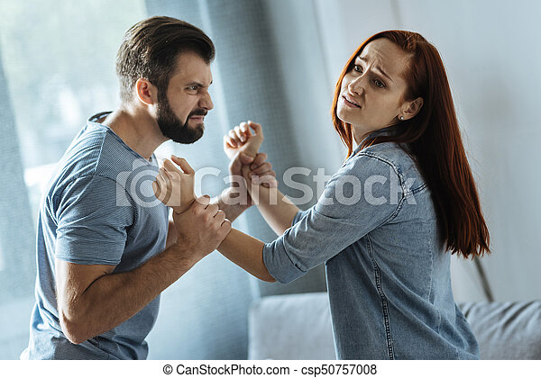 Strong Brutal Man Holding His Wife Let Me Go Strong Brutal Angry
