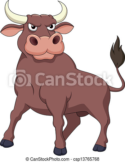 vector illustration of strong bull cartoon rh canstockphoto com ox clipart panda ox clip art black and white