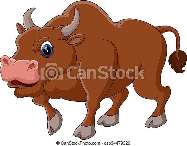 Strong bull cartoon - csp34479329