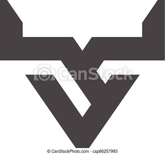 strong bull horns line logo vector - csp66257993
