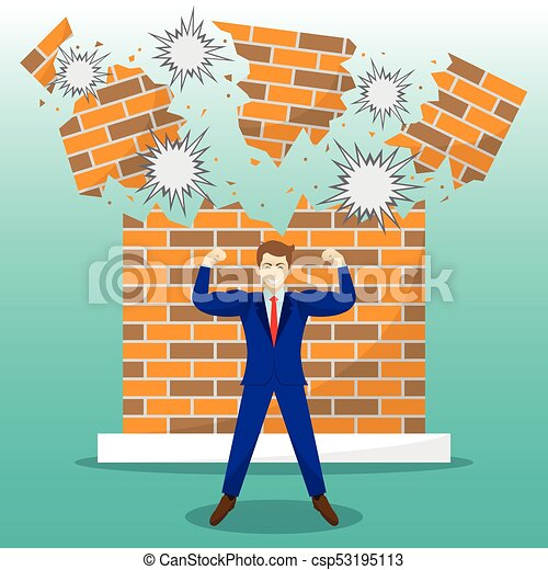 Strong Businessman In Front Of Breaking Brick Wall - csp53195113