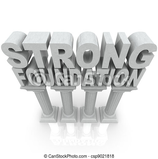 Strong Foundation Words on Granite Marble Columns  - csp9021818