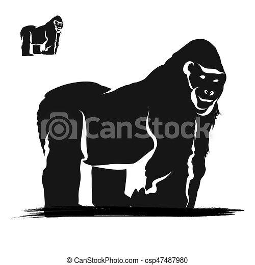 Strong gorilla silhoue...