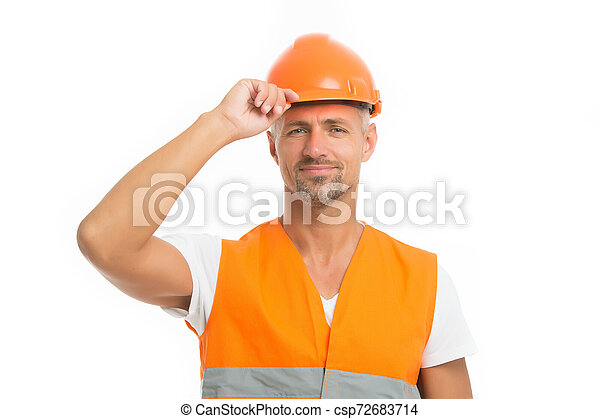 Strong handsome builder. Good job. Safety is main point. Man builder wear protective hard hat and uniform white background. Worker builder confident looking camera. Protective equipment concept - csp72683714