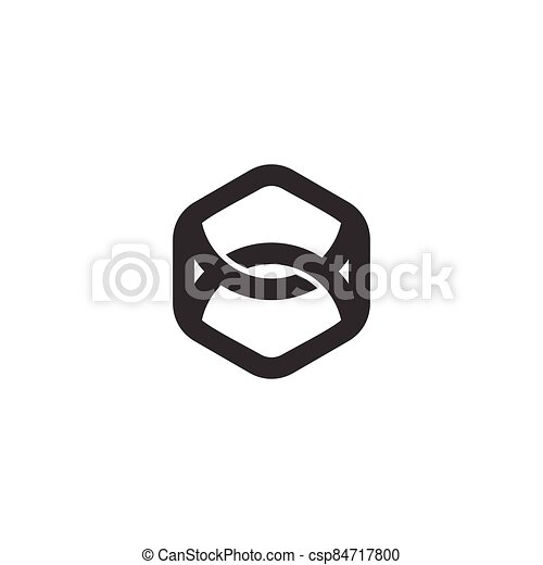 strong linked line hexagonal logo vector - csp84717800