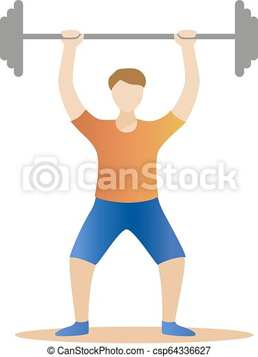 strong man powerlifting. Weight lifter athlete Vector illustration - csp64336627