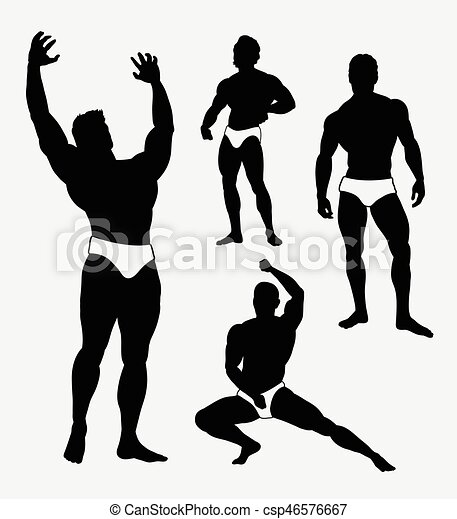 strong man sport pose silhouette good use for symbol web icon rh canstockphoto com strong man clipart images strong man clipart black and white