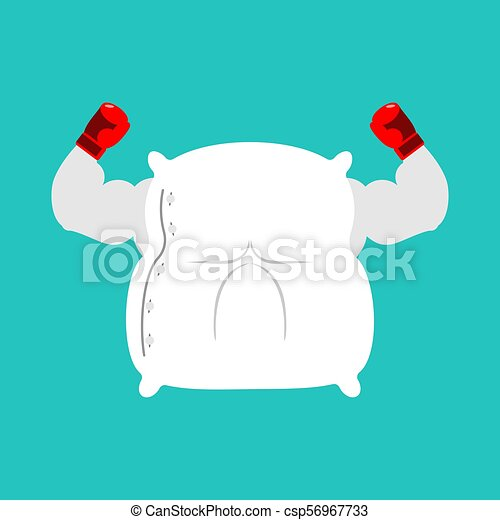 Strong Pillow fight. Big bed linen. Vector illustration - csp56967733