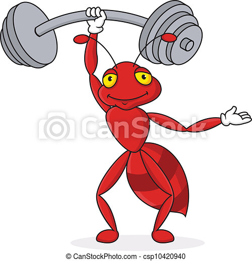 Strong red ant cartoon character - csp10420940