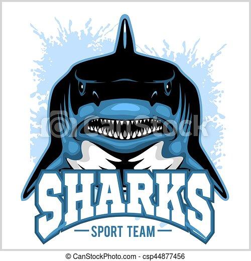 Strong shark sports mascot. Vector illustration. - csp44877456