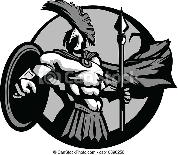 strong spartan or trojan mascot with spear and shield clipart rh canstockphoto com trojan mascot clipart trojan clipart logo