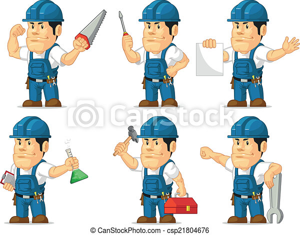 Strong Technician Mascot 2 - csp21804676