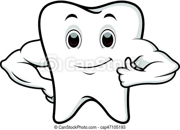 Strong tooth cartoon - csp47105193