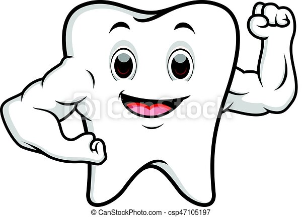 Strong tooth cartoon - csp47105197
