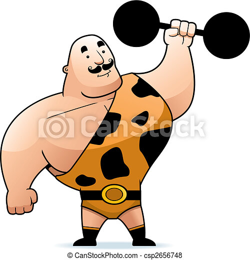 a cartoon strongman with a dumbbell vector search clip art rh canstockphoto co uk Strong Man Vector strong man clip art free