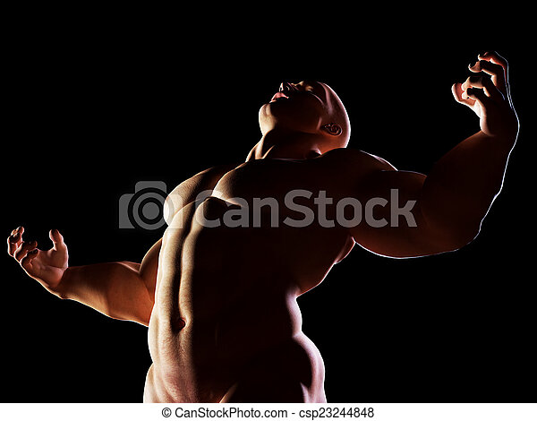 Strongman, hero showing his muscular body in winner, alpha male position - csp23244848