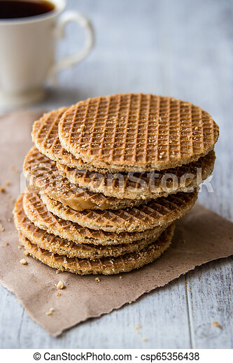 Stroopwafels Caramel Dutch Waffles With Tea Or Coffee Stroopwafel Is A Waffle Made From Two Thin Layers Of Baked Dough Canstock